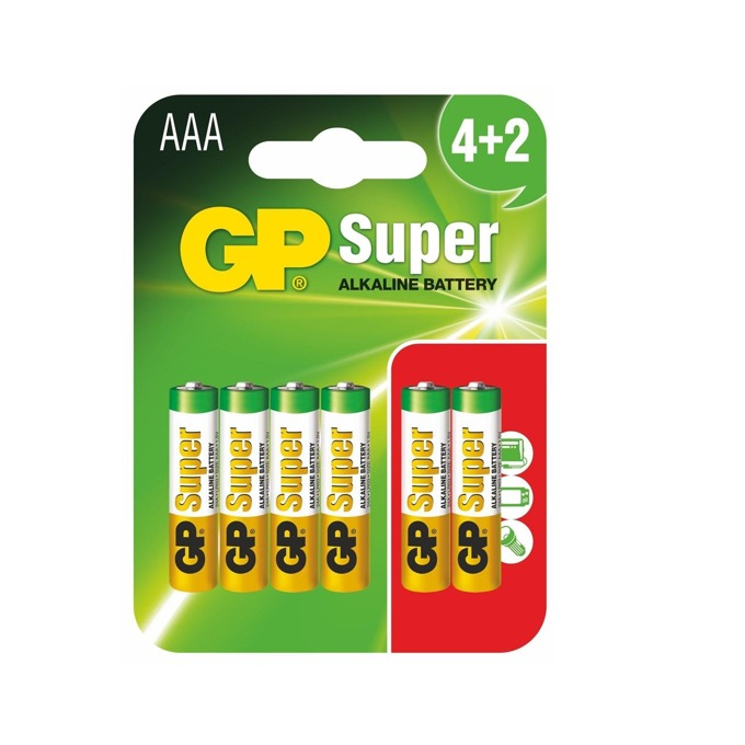 Батерия алкална GP Batteries GP-BA-SUP-LR03-4+2, AAA, LR03, 1.5V, 6(4+2)бр. image