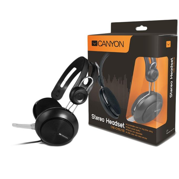 Слушалки Canyon CNE-CHSU1B, микрофон, черен image