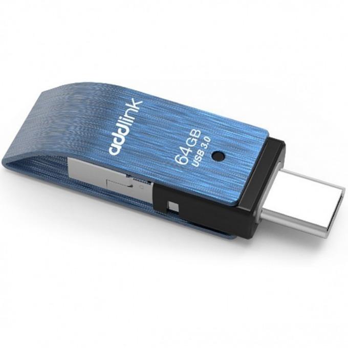 Памет 64GB USB Flash Drive, Addlink T80 3в1, USB A(м)/USB C(м)/MicroUSB B (м), синя image