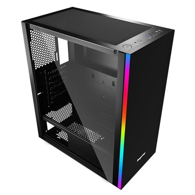 Кутия Segotep MEX, E-ATX, M-ATX, Mini-ITX, 1x USB 3.0, прозорец, черна, без захранване image