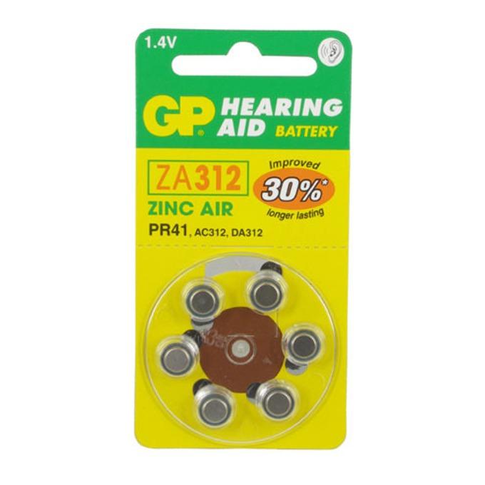 Батерии цинкови GP Hearing Aid ZA312, 1.4V, 6 бр. в опаковка, цена за 1 бр. image