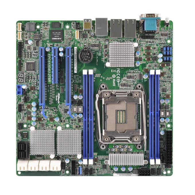 Дънна платка за сървър ASRock Rack EPC612D4U-2T8R, LGA2011-3, поддържа DDR4 LRDIMM/RDIMM, 2x LAN 10G base-T, 1x IPMI LAN port, 8x SATA3 6.0Gb/s(RAID 0/1/5/10), 8x SAS3 12Gb/s(RAID 0/1/10), 2x USB 3.0, mATX image