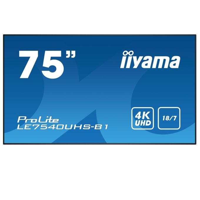 "Публичен дисплей Iiyama LE7540UHS-B1, 75""(190.5 cm) 4K UHD IPS LED, VGA, HDMI, DisplayPort, RS232, LAN, USB image"