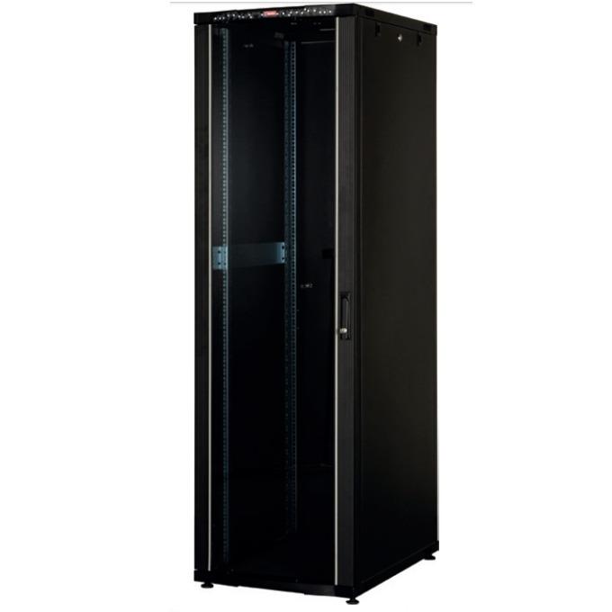 """Комуникационен шкаф Lande LN-CK42U6060-BL-121, 19"""", 42U, 600 x 600 мм, стъклена врата, LCD термометър, черен image"""