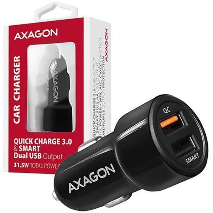 Зарядно за устройство за кола AXAGON PWC-QC5, от автомобилна запалка към 2x USB A(ж), 3.6-6.5V 3.0A / 6-59V 2.1A / 9-12V 1.6A, черно, Quick Charge 3.0, Smart Charge image
