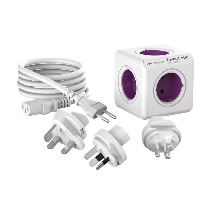 Разклонител Allocacoc Power Cube 1801 Travel Kit, 5 гнезда, приставки за др. държави, защита от деца, бял/лилав, 1 м. кабел image