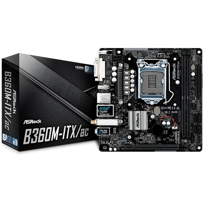 Дънна платка ASRock B360M-ITX/AC, B360, LGA 1151, PCI-E (HDMI, DVI-I, DP), 4x SATA 6Gb/s, 1x Ultra M.2 Socket, 2x USB 3.1 Gen2, Wi-Fi IEEE 802.11ac, Mini-ITX image