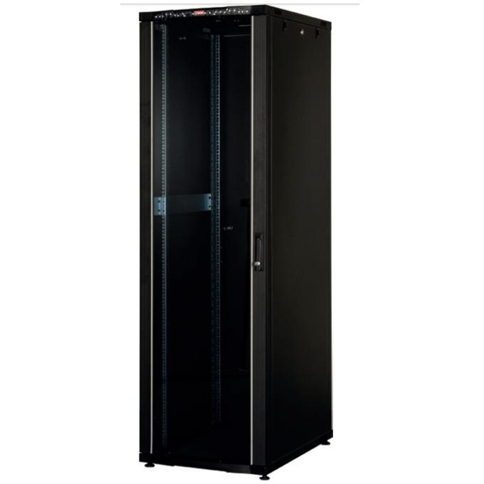 """Комуникационен шкаф Lande LN-CK42U6010-BL, 19"""", 42U, 600 x 1000 мм, стъклена врата, LCD термометър, черен image"""