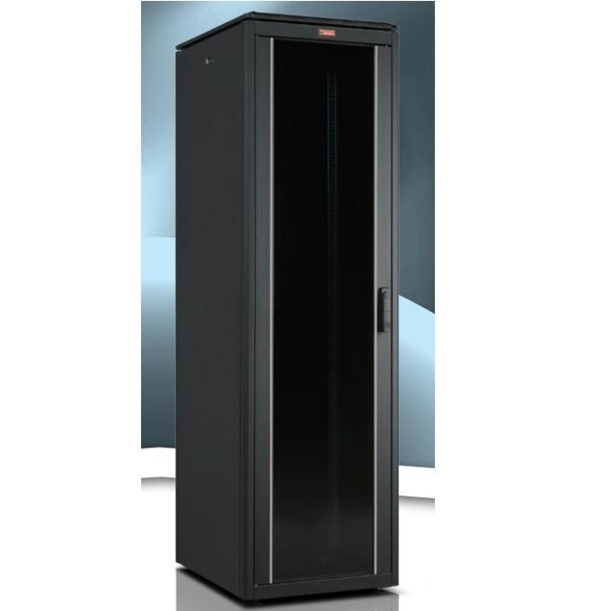 """Комуникационен шкаф Lande LN-FS42U6010-BL-111, 19"""", 42U, 600 x 1000 мм, стъклена врата, черен image"""