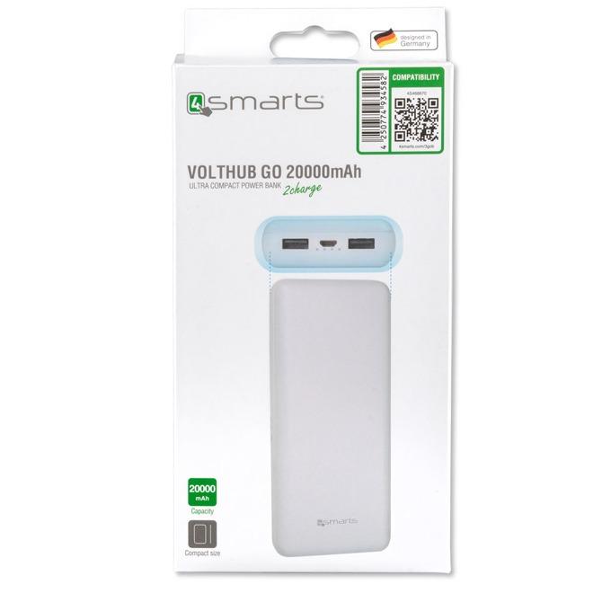 Външна батерия/power bank/ 4smarts Power Bank VoltHub Go, 20000 mAh, бяла image