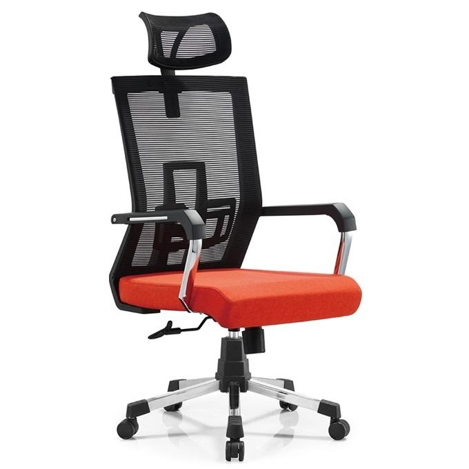 Директорски стол RFG Lucca HB, дамаска и меш, червена седалка, черна облегалка image