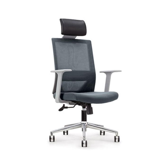 Директорски стол RFG Fedo HB, дамаска и меш, сива седалка, сива облегалка image