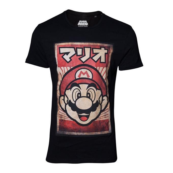 Тениска Bioworld Nintendo Propaganda Poster Mario, размер XL, черна image