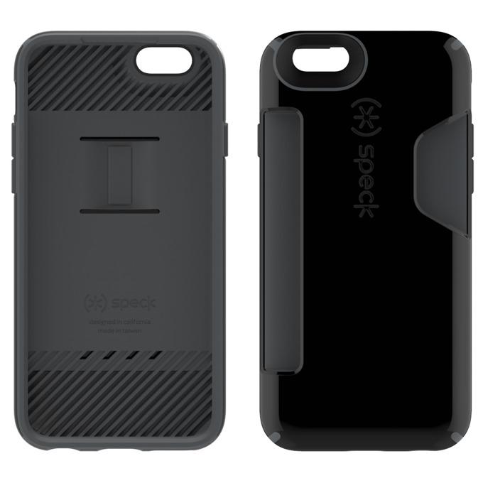 Страничен протектор с гръб Speck за iPhone 6S, с отделение за карти, черен image