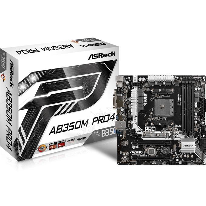 Дънна платка ASRock AB350M Pro4, AMD B350, AM4, DDR4, PCI-E(HDMI&DVI)(CFX), 4x SATA 6Gb/s, 1x Ultra M.2 Socket, 1x M.2 Socket, 1x USB 3.0 Type-C, microATX image