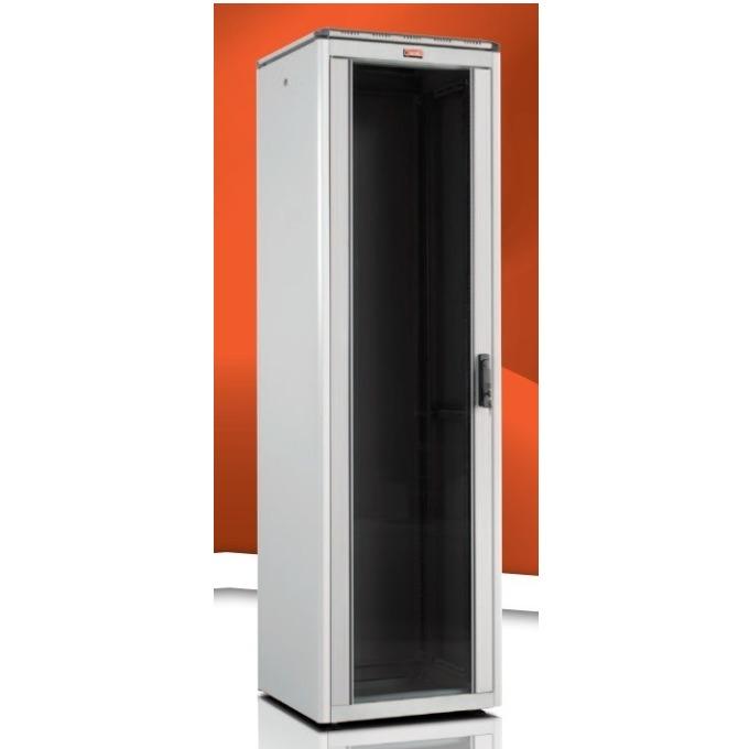 "Комуникационен шкаф Lande LN-FS16U6060-LG, 19"", 16U, 600 x 600 мм, стъклена врата, сив image"