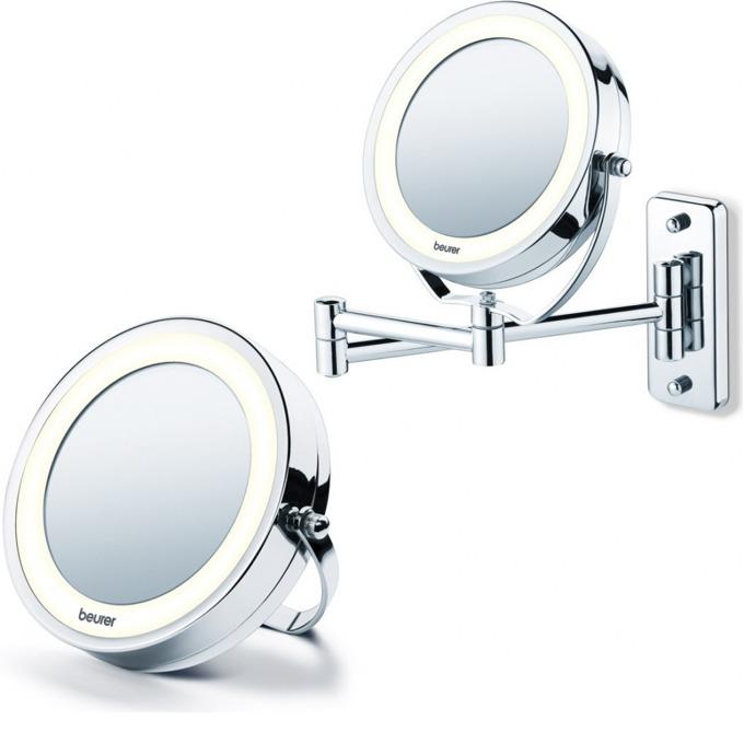 Козметично огледало Beurer BS59, 2 огледала (нормално и с 5 степенно увеличение), 8 LED диода, диаметър 11см, възможност за закачане на стена image