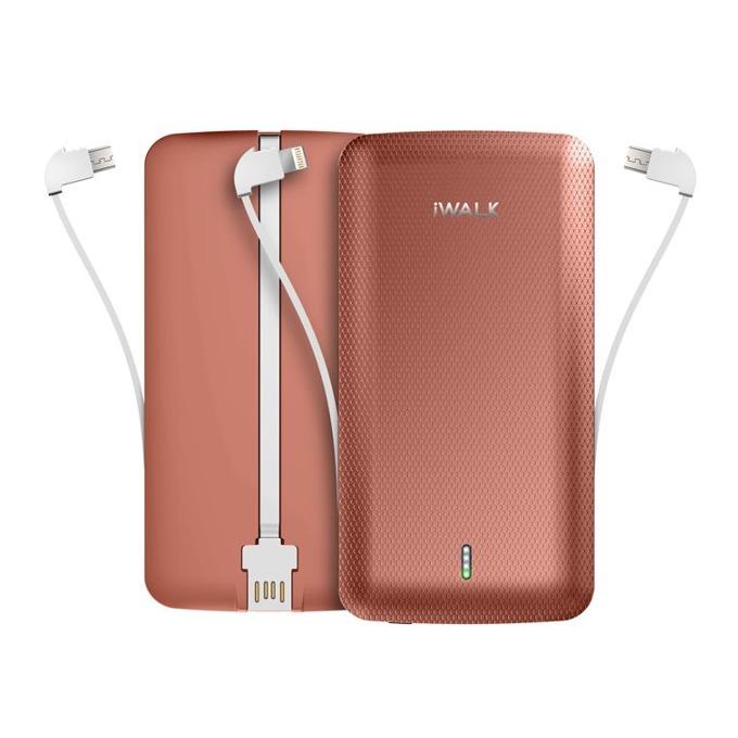 Външна батерия /power bank/ iWalk Scorpion, 8000mAh, USB/Lightning/Micro USB вградени кабели, 5V, 2.4A, розова image