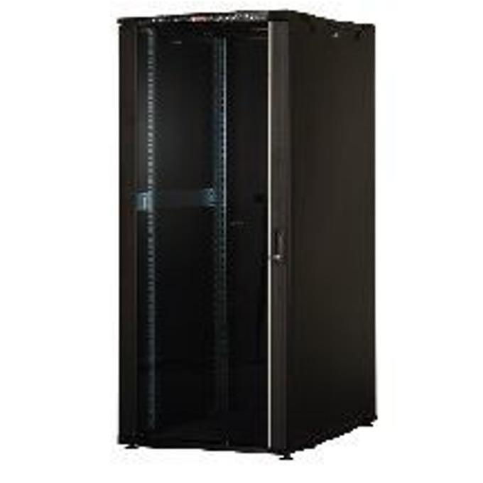 "Комуникационен шкаф Lande LN-CK32U8080-BL-721, 19"", 32U, 800 x 800 мм, LCD термометър, черен image"