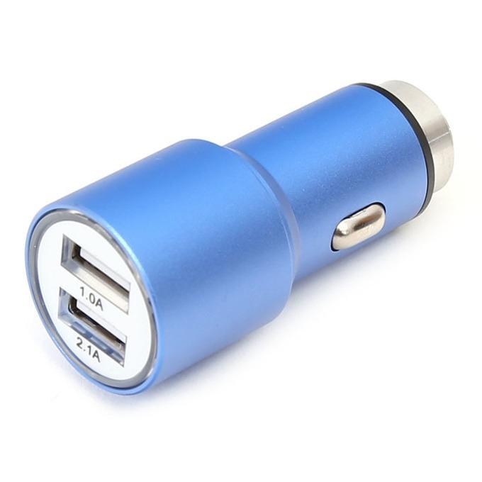 Зарядно за кола Omega Car Charger OUCC2MBL, от авт. запалка към 2x USB A(ж), 5V/2.1A, 1.0A, синьо image