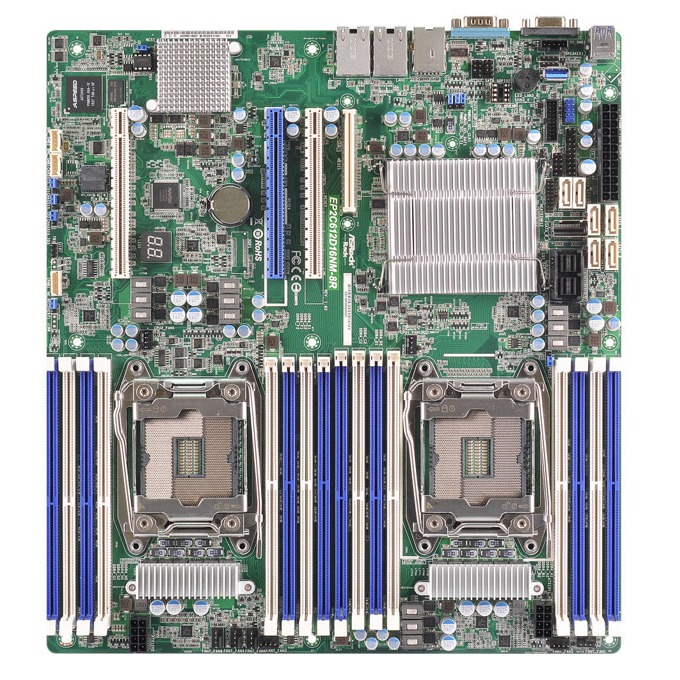 Дънна платка за сървър ASRock Rack EP2C612D16NM-8R, 2x LGA2011 R3, поддържа DDR4 LRDIMM/RDIMM, 2x LAN1000, 1x IPMI LAN port, 10x SATA3 6.0Gb/s(RAID 0/1/5/10), 2x USB 3.0, SSI EEB image