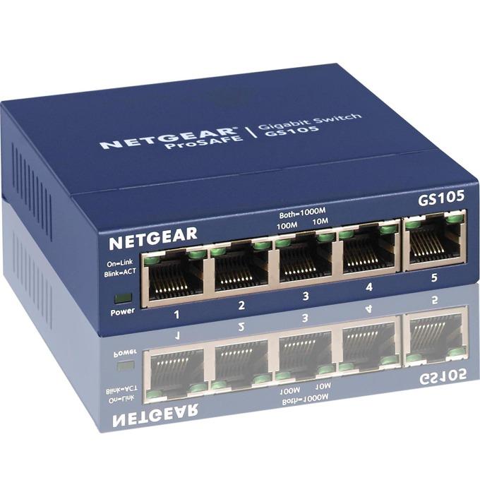 Суич Netgear FS105-300PES, 5 x 10/100 ProSafe switch, external power supply, 5 порта image
