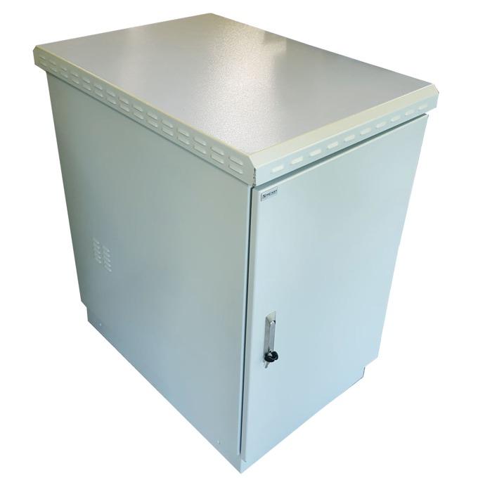 Комуникационен шкаф MIRSAN MR.IP66PTSY609020U.03-3 IP66, 670 x 1100 x 955 мм / 20U, D=900 мм, двойни стени - 3.0 мм, с 4 вентилатора, бял, Outdoor image
