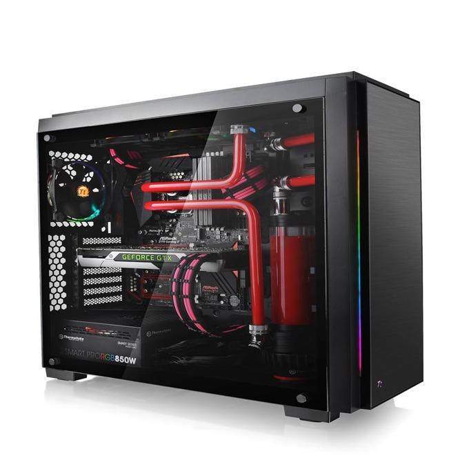 Кутия Thermaltake Versa C23 TG RGB Edition, ATX/mATX/mITX, 2x USB3.0, прозорец, подсветка, черна, без захранване image