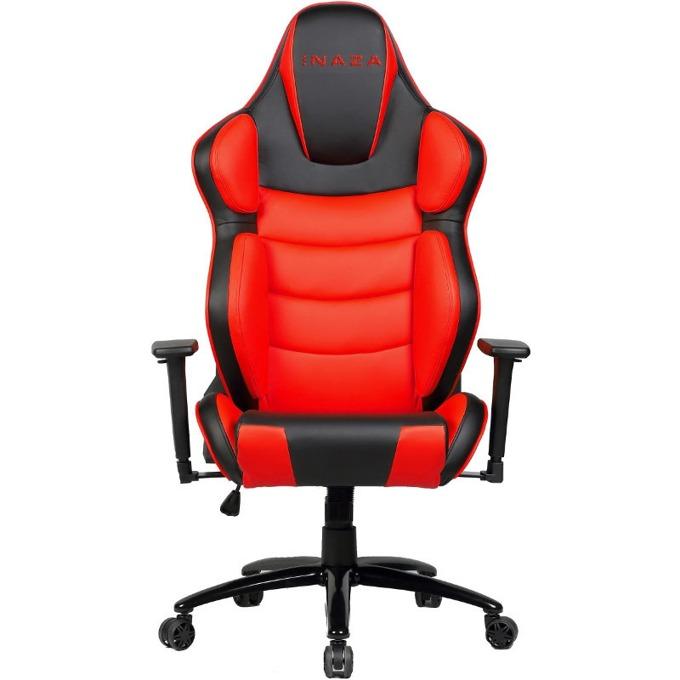 Геймърски стол INAZA Predator 2 PR02-BR, полиуретан, черен/червен image