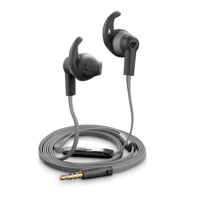 Слушалки Cellular Line IT3520, микрофон, плосък кабел, олекотени, 3,5 мм жак, черни image
