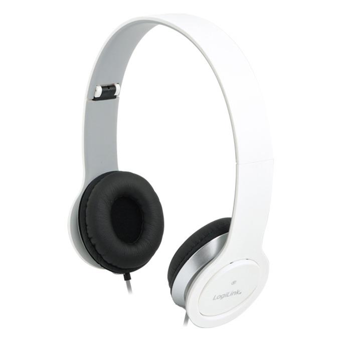 Слушалки LogiLink Stereo Quality HS0032, микрофон, 3.5мм жак, бели image