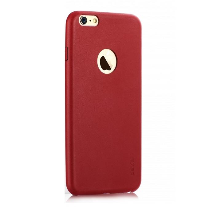 Калъф за Apple iPhone 6/6S Plus, страничен протектор с гръб, поликарбонатов и еко кожа, Devia Blade, червен image
