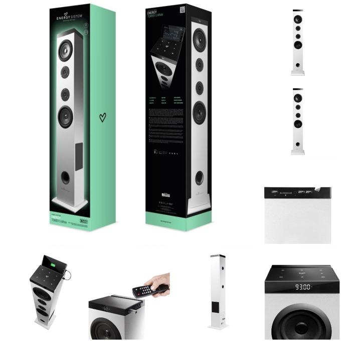 Тонколона Energy Sistem Energy Tower 5, 2.1, бяла, Bluetooth, MP3, FM, USB image