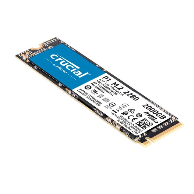 Памет SSD 2TB, Crucial P1, PCIe G3 1x4 NVMe, M.2(2280), скорост на четене 2000 MB/s, скорост на запис 1700 MB/s image
