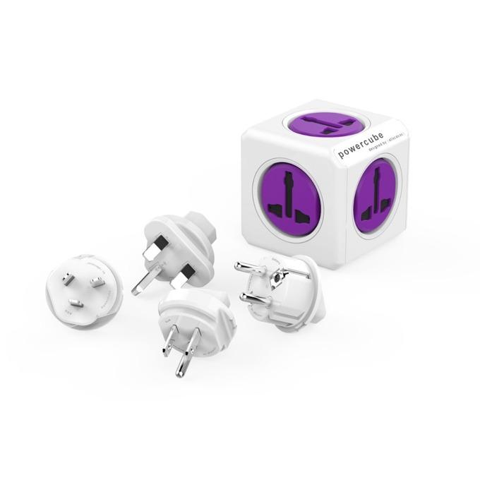 Разклонител Allocacoc Power Cube Universal 10552PP, 5 гнезда, приставки за др. държави, защита от деца, бял/лилав image