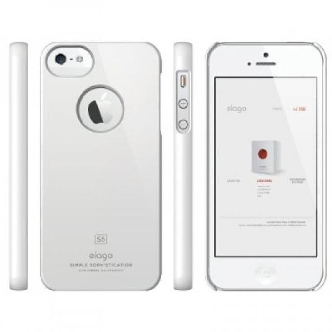 Поликарбонатов протектор Elago S5 Slim Fit Case + HD Clear Film за iPhone 5, iPhone 5S, бял-лъскав, HD покритие image