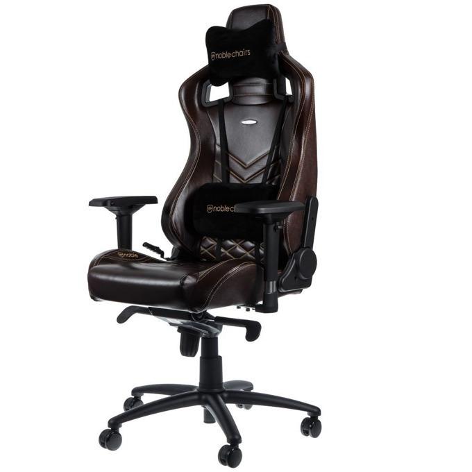Геймърски стол noblechairs EPIC, естествена кожа, кафяв/бежов image
