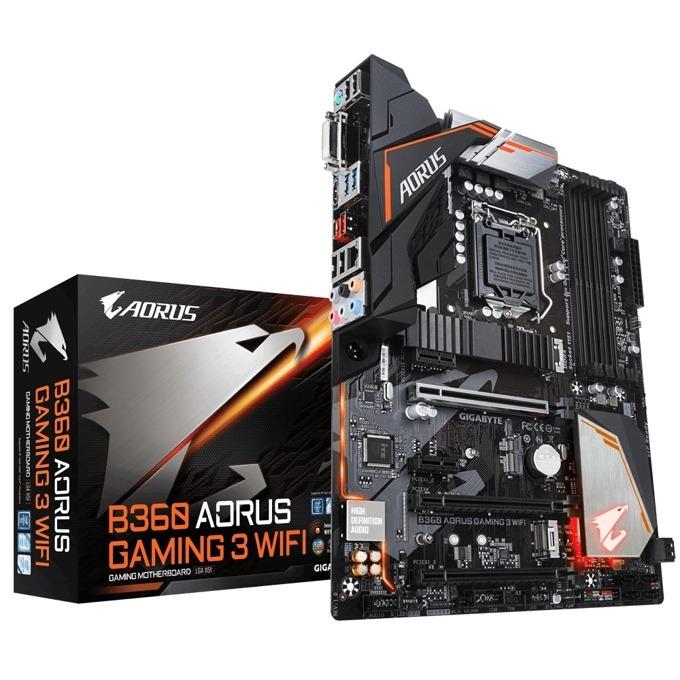 Дънна платка GIGABYTE B360 AORUS Gaming 3 WiFi, B360, LGA1151, DDR4, PCI-E (HDMI&DVI-D)(CFX&CF), 6x SATA 6Gb/s, 2 x M.2 Socket, 1x USB Type-C™ port 3.1 Gen 1, Wi-Fi 802.11ac, ATX image