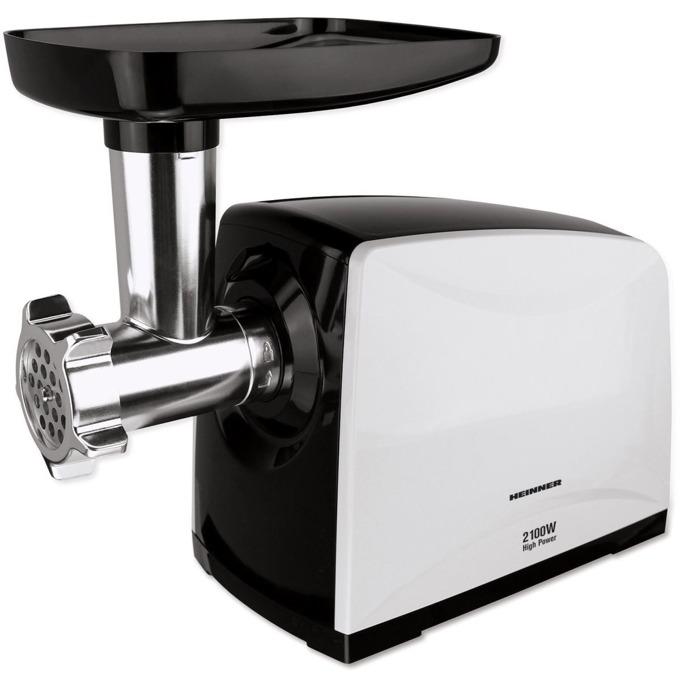 Месомелачка Heinner MG-2100BKWH, капацитет 1.8 кг/мин, нож от неръждаема стомана, аксесоар за домати, аксесоар за смилане на месо, 3 решетки за мелене, функция Reverse, 2100W, бяла image