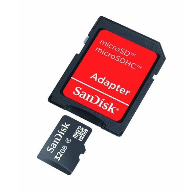 32GB microSDHC, SanDisk, с SD адаптер, Class 4, скорост на четене 4MB/s, скорост на запис 4MB/s image