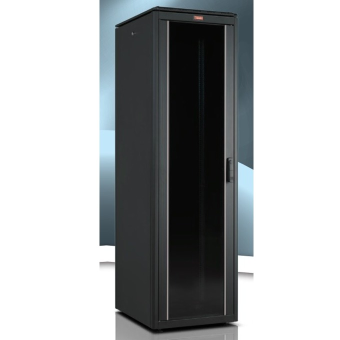 """Комуникационен шкаф Lande LN-FS16U6060-BL-111, 19"""", 16U, 600 x 600 мм, стъклена врата, LCD термометър, черен image"""