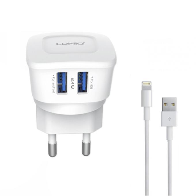 Зарядно устройство LDNIO DL-AC63, 5V, 2.4A, контакт към Lightning(м), Бял image