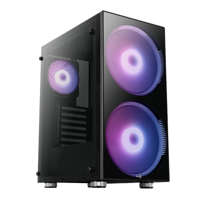 Кутия AeroCool Python RGB, ATX, mATX, MINI-ITX, 1 x USB3.0, черна, без захранване image
