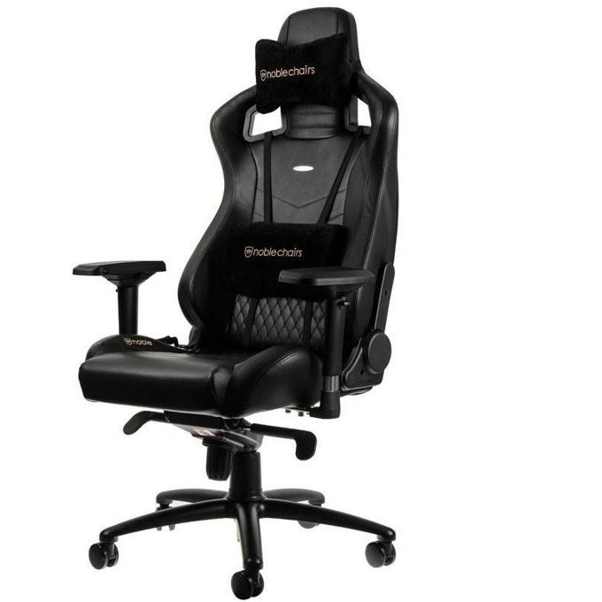 Геймърски стол noblechairs EPIC, естествена кожа, черен image