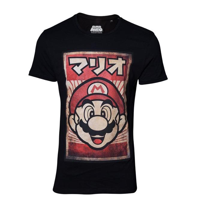Тениска Bioworld Nintendo Propaganda Poster Mario, размер XXL, черна image