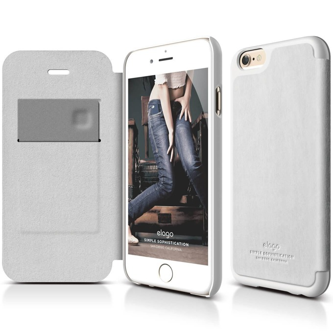 Калъф за iPhone 6 plus, Flip Wallet, кожен от естествена кожа, Elago S6P Leather Wallet Case, сив, HD покритие image