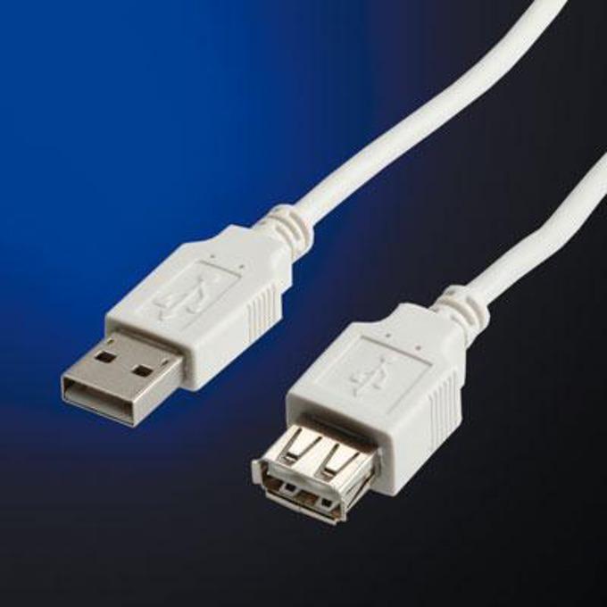 Кабел Roline 11.99.8961, USB A(м) към USB А(ж), 3m, бял image