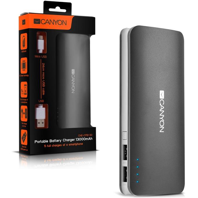 Външна батерия/power bank/ Canyon Battery charger 13000 mAh, черен, сив image