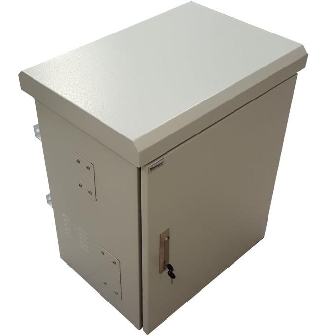 """Комуникационен шкаф Mirsan MR.IP66DR604012U.03, 19"""", 12U, 400mm, двойни стени, с 4 вентилатора, бял, Outdoor image"""