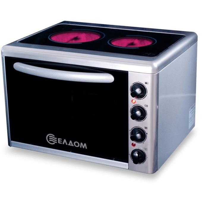 Готварска печка мини Елдом 201VFB-NEW, клас А, 38л. обем на фурната, вградено осветление на фурната, вграден вентилатор във фурната, неръждаем работен плот, 3100 W, черна image